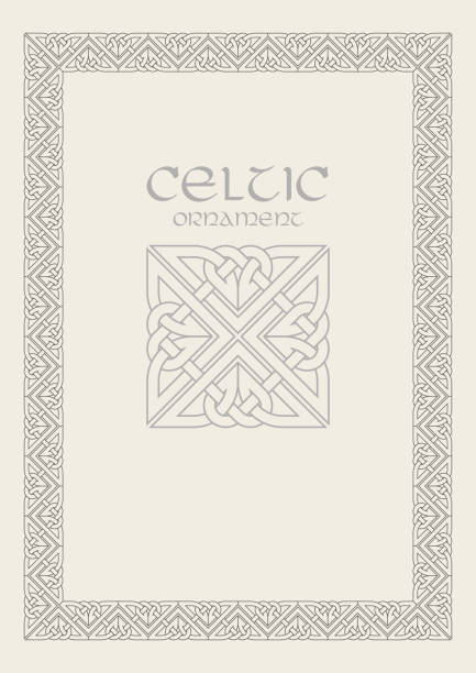 Celtic knot braided frame border ornament. A4 size Celtic knot braided frame border ornament. A4 size. Vector illustration. celtic style stock illustrations