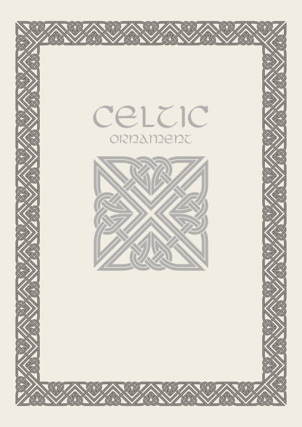 Celtic Knot Braided Frame Border Ornament A4 Size Vector Art Illustration