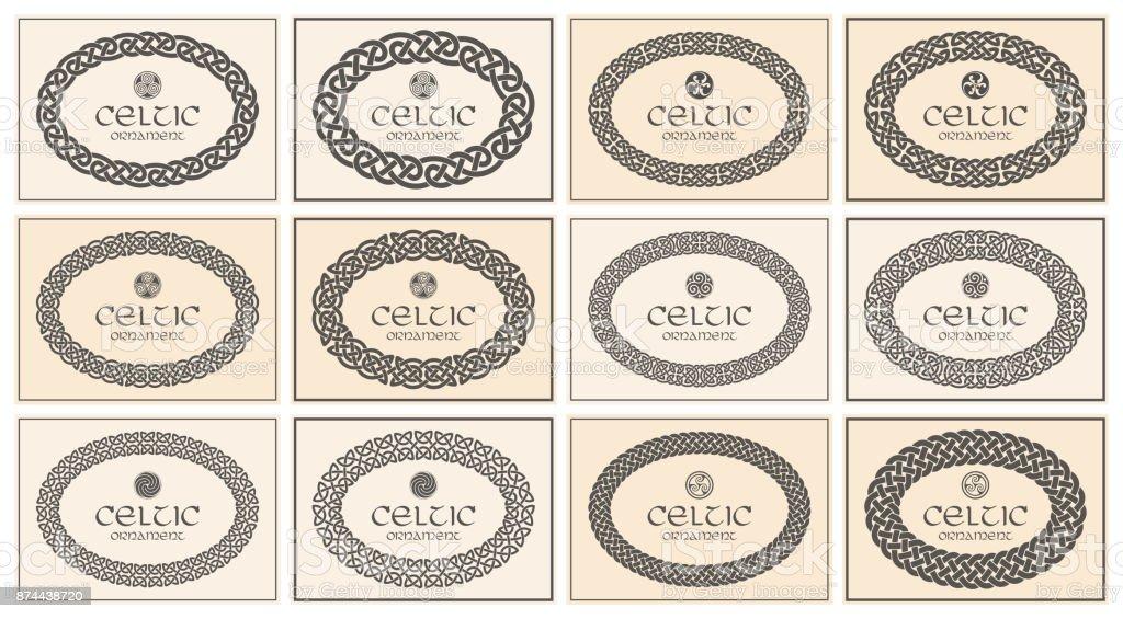 Keltischer Knoten Geflochten Ovalen Rahmen Grenze Ornament A4format ...
