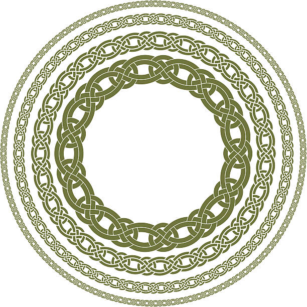 Celtic Knot Circles A collection of Celtic knot circles in different widths. celtic knot stock illustrations