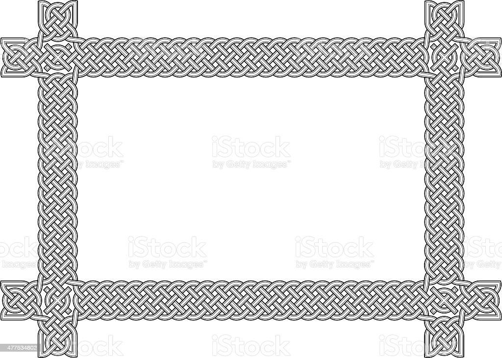 Celtic knot frame element in black and white vector art illustration