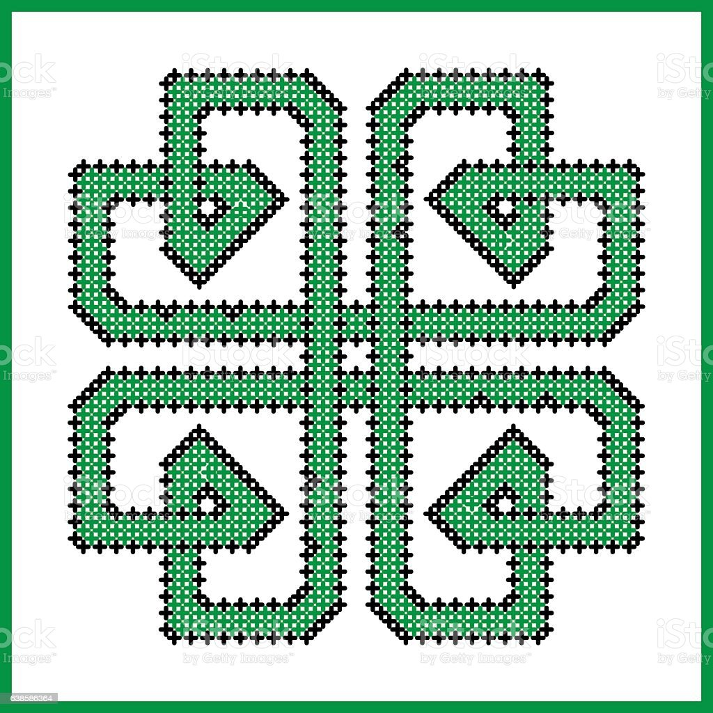 Celtic Knot In Square Clover Shape In Black And Green Stock Vector ...