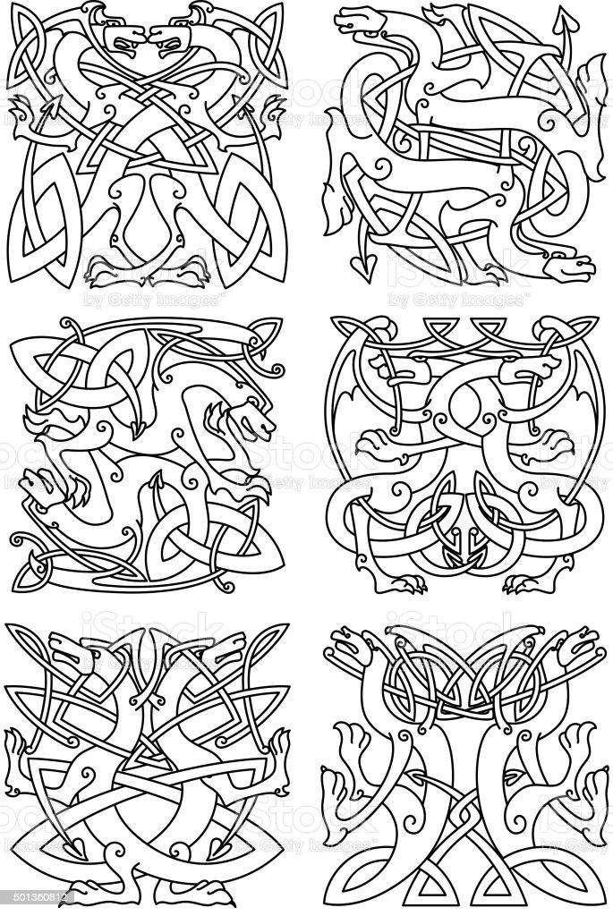 Ilustración de Nudo Celta Patrón Con Tribal Dragons y más banco de ...