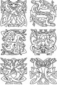 Celtic knot pattern with tribal dragons