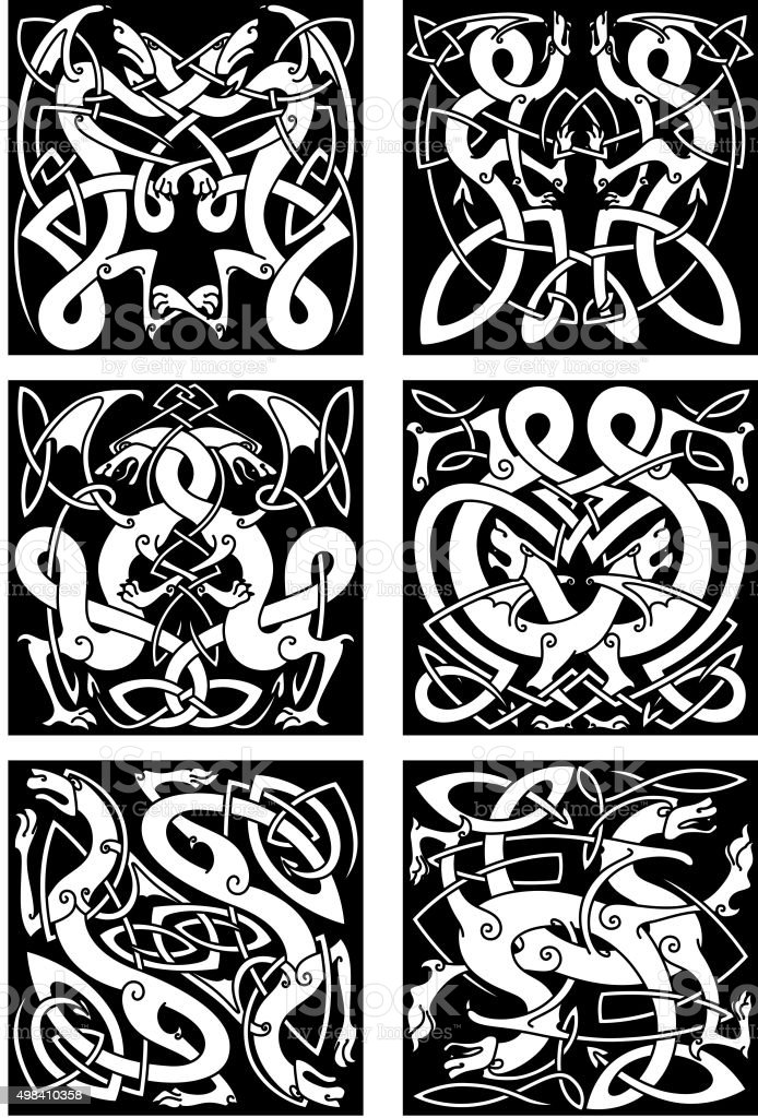 Celtic Knot Patterns With Tribal Dragons Royalty Free Stock