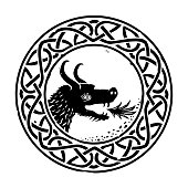 Round Celtic or Viking knot pattern with a fire-breathing dragon head.