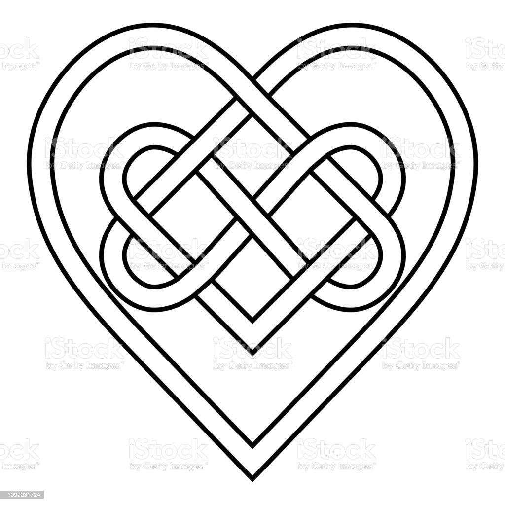 rune celtique noeud li signe de symbole de vecteur coeur. Black Bedroom Furniture Sets. Home Design Ideas