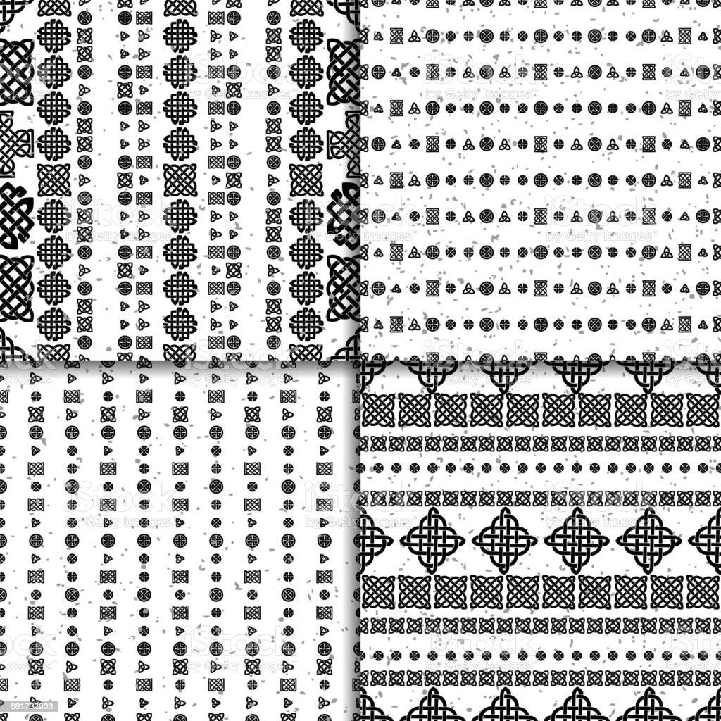 Celtic knot seamless pattern set vector art illustration