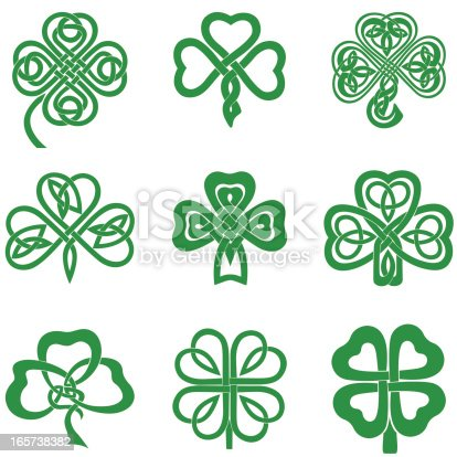 Collection of Celtic Knot Shamrocks including three and four leaf clover.