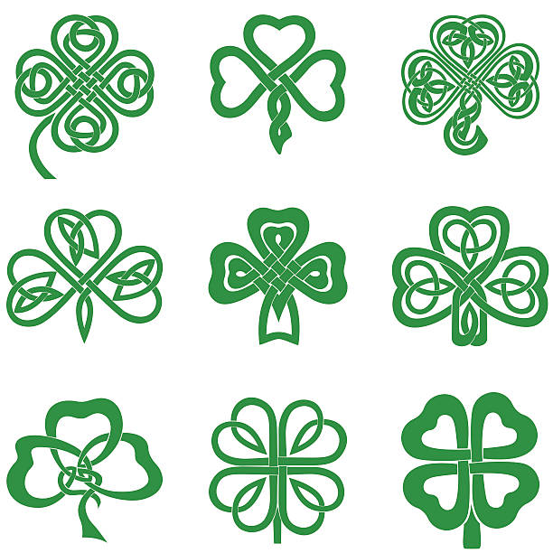 Celtic Knot Shamrocks Collection of Celtic Knot Shamrocks including three and four leaf clover. celtic knot stock illustrations