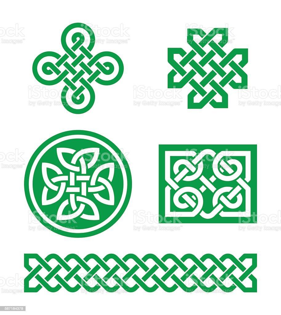 Celtic knots, braid green patterns - St Patrick's Day vector art illustration