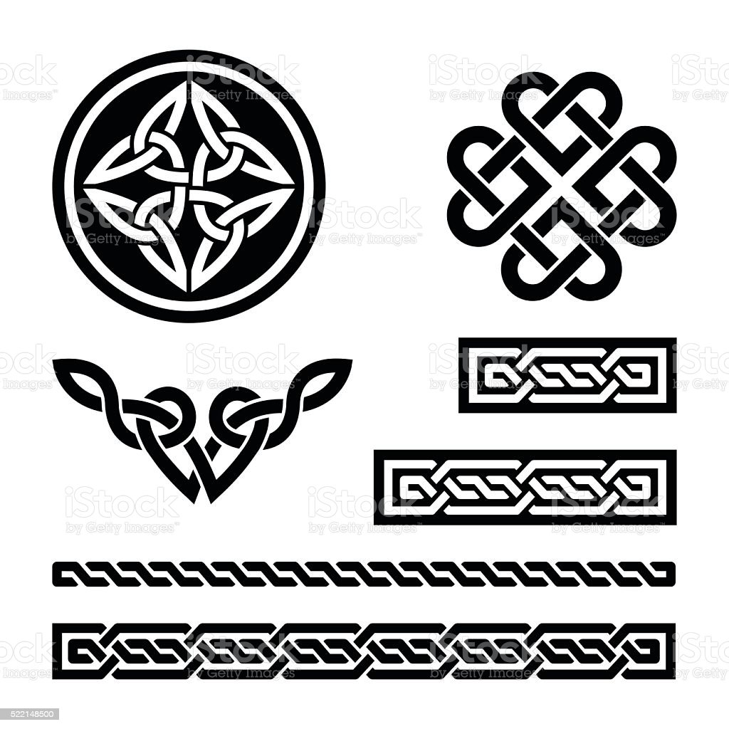 Celtic knots, braids and patterns - vector vector art illustration