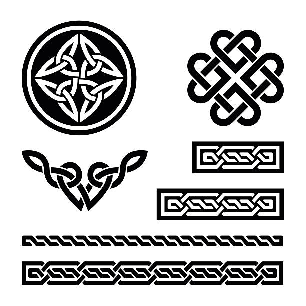 celtic knots, braids and patterns - vector - celtic tattoos stock illustrations, clip art, cartoons, & icons