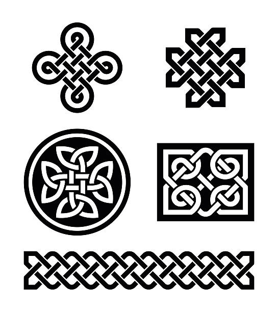 Celtic knots patterns - vector Set of traditional Celtic symbols, knots, braids in black and white  celtic knot stock illustrations