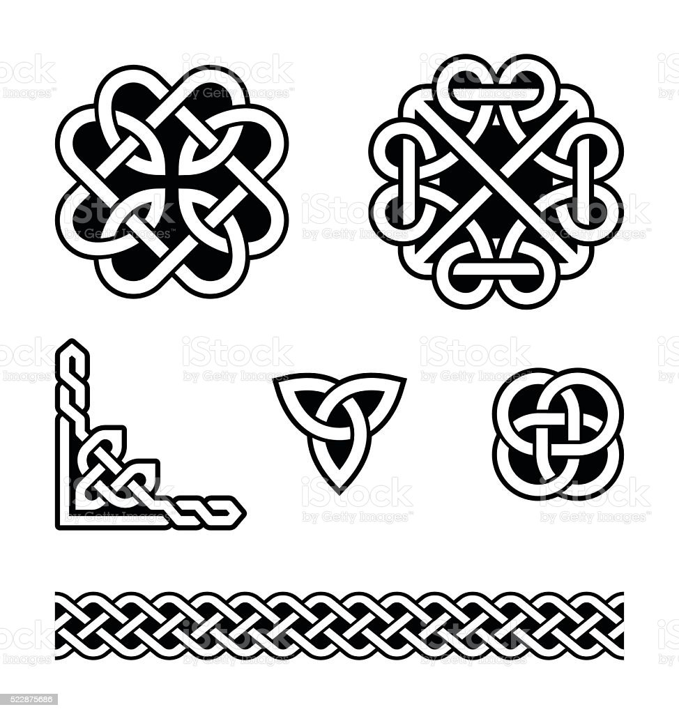 Celtic knots patterns - vector vector art illustration