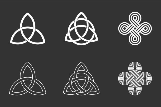 Celtic knots set on black background. Triquetra, trinity knot with circle, endless loop. Ancient ornaments symbolizing eternity. Trefoil interconnected lines. Infinite knots. Vector illustration. celtic knot stock illustrations