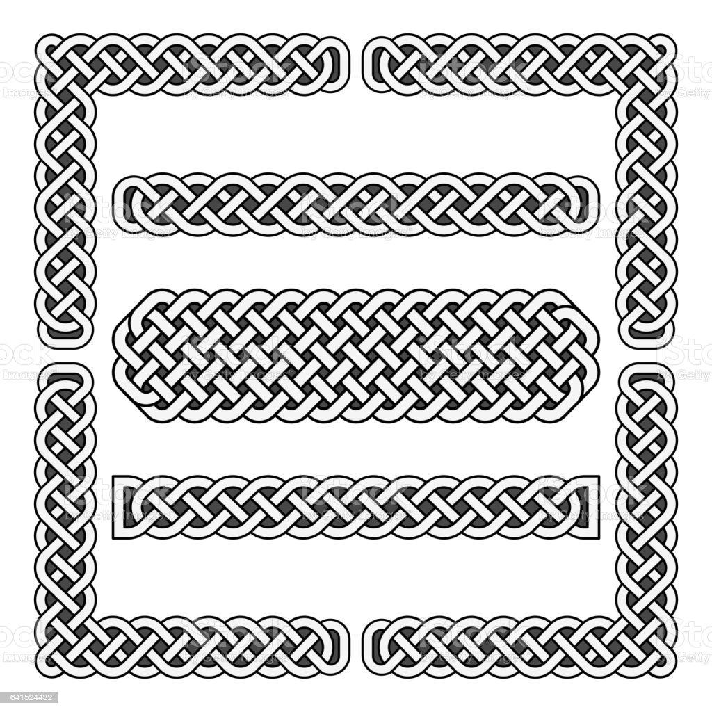Celtic knots vector medieval borders and corner elements vector art illustration