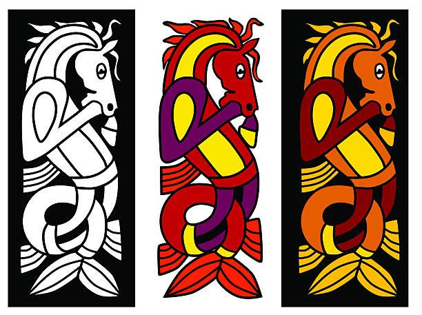 keltisches ornament element mit pferd - kultfilme stock-grafiken, -clipart, -cartoons und -symbole