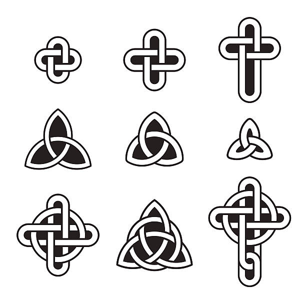 Celtic ornament set Celtic ornament set. Traditional knots, triangles and crosses. Vector design elements celtic knot stock illustrations