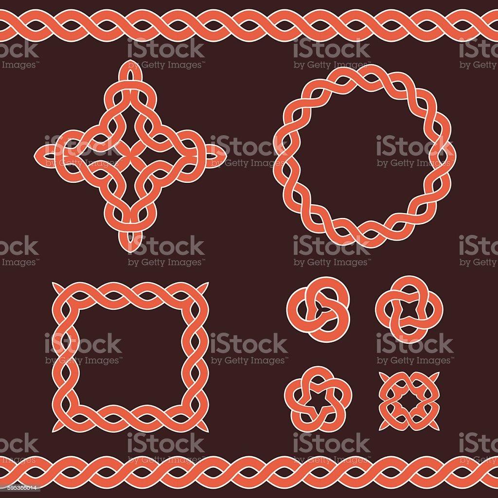 Celtic ornamental design elements. vector art illustration