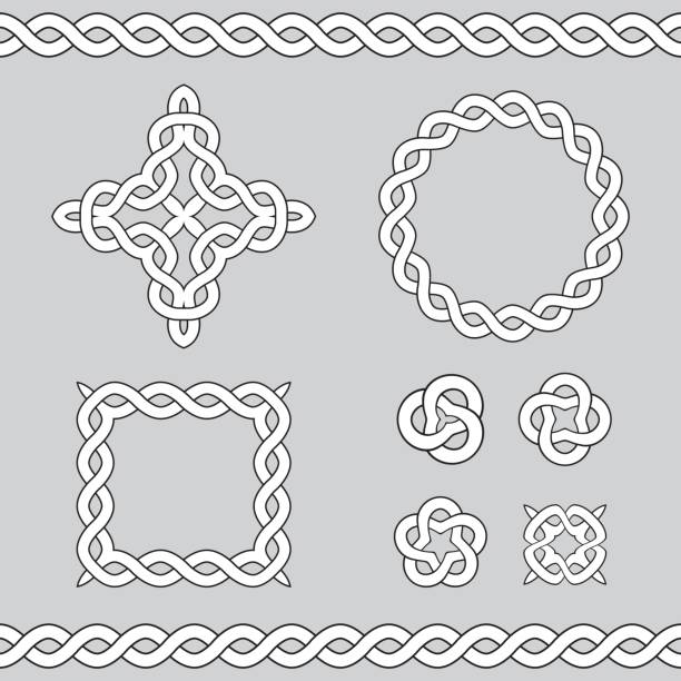 Celtic ornamental design elements. Set collection of celtic ornamental design elements. Vector illustration. celtic knot stock illustrations