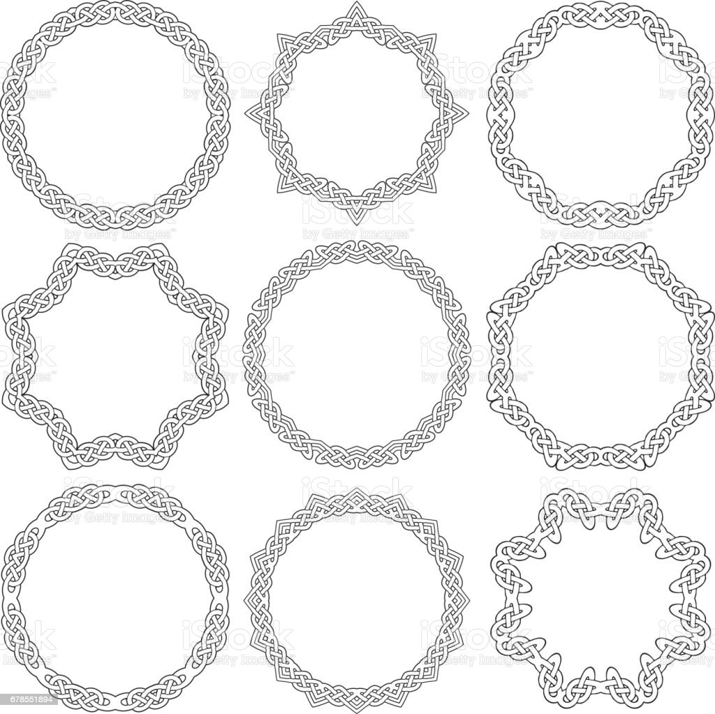 Celtic ornamental rings vector art illustration