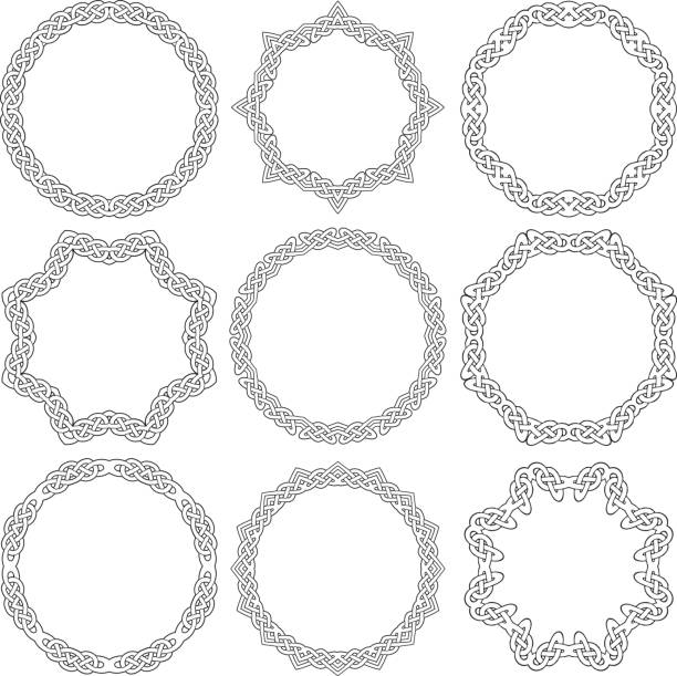 Celtic ornamental rings Set of celtic ornamental frames celtic style stock illustrations