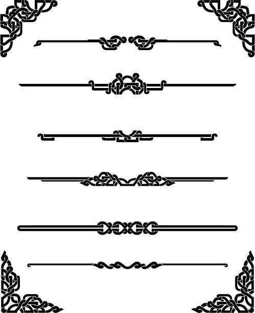 Celtic Page Rules Set of horizontal page rule in different variations and corner decor. More Seamless Background and Borders Series Lightbox celtic knot stock illustrations