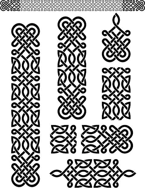 Celtic Pattern Set Expandable pattern and properly grouped elements. More Seamless Background and Borders Series Lightbox celtic style stock illustrations