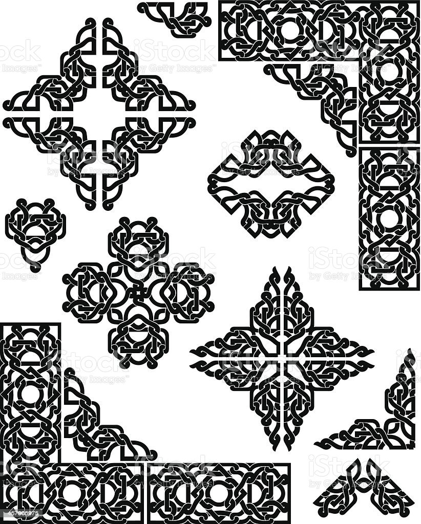 Celtic Pattern Set vector art illustration