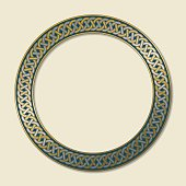 Celtic ring (circular frame) ornament decorated with an eternal, endless knot in gold and silver. The illustration, with soft shadow is placed on a bright beige background.