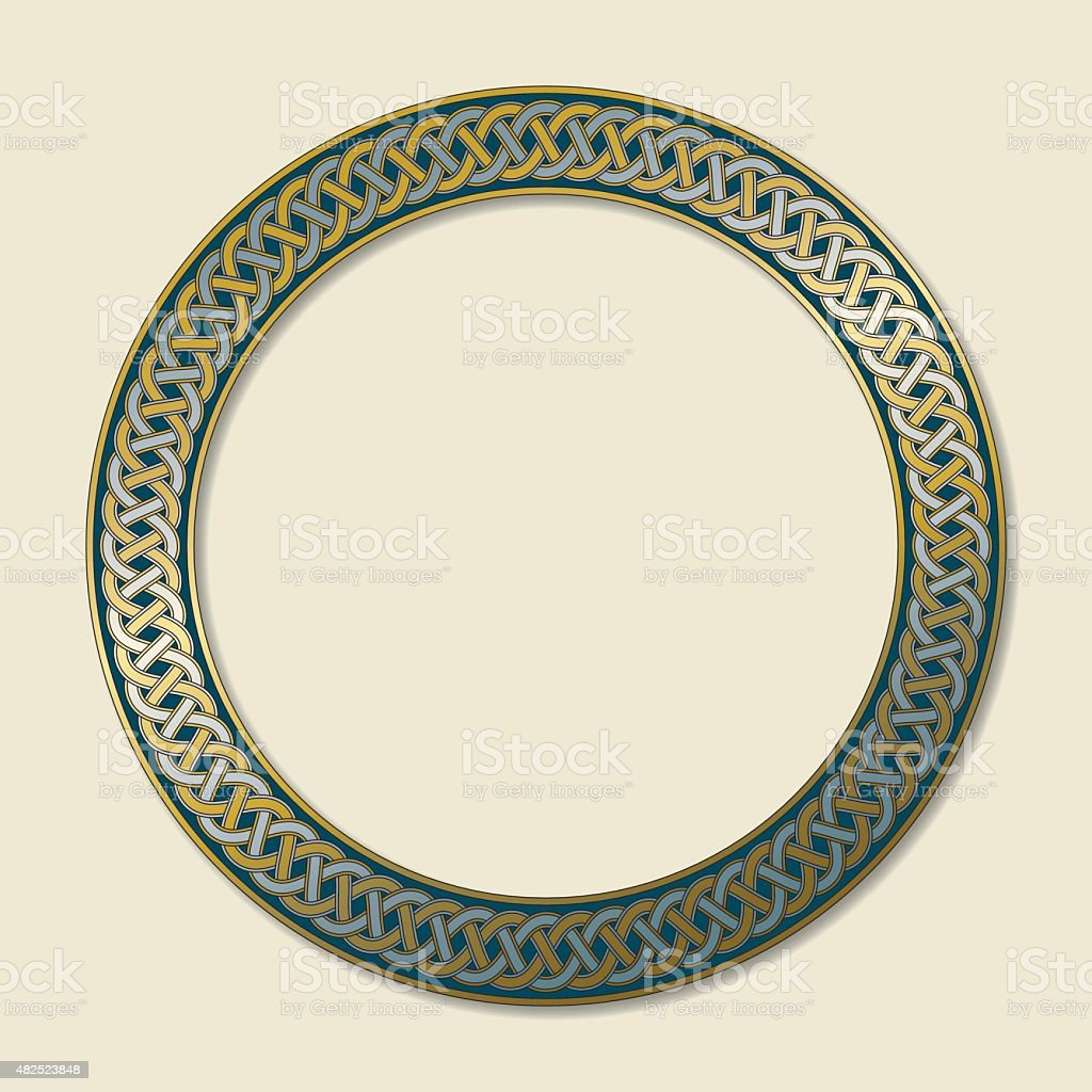 Celtic ring with endless knot in gold and silver vector art illustration
