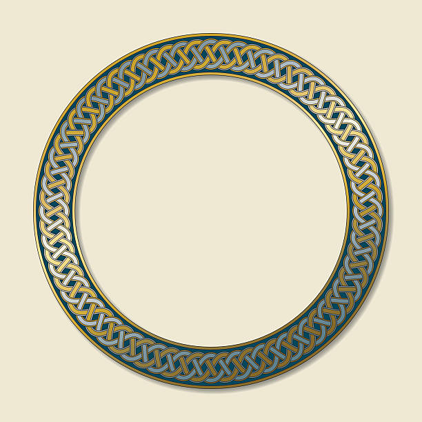 Celtic ring with endless knot in gold and silver Celtic ring (circular frame) ornament decorated with an eternal, endless knot in gold and silver. The illustration, with soft shadow is placed on a bright beige background.  celtic style stock illustrations