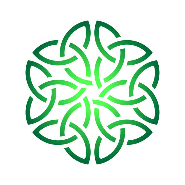Celtic shamrock knot in circle. Symbol of Ireland Celtic shamrock knot in circle. Symbol of Ireland. celtic knot stock illustrations