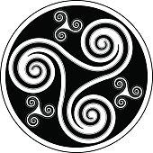 Celtic spiral ornament (Triskelion variation n° 2)