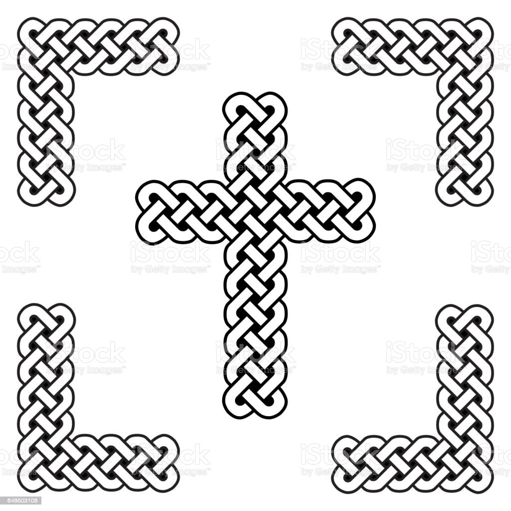 Celtic style endless curved knot cross symbols in white and black celtic style endless curved knot cross symbols in white and black in knotted frame inspired by buycottarizona Image collections