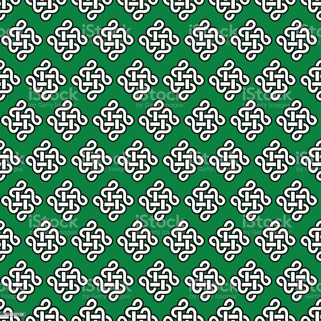 Celtic style endless knot symbol seamless pattern in white with celtic style endless knot symbol seamless pattern in white with black stroke on green background inspired buycottarizona