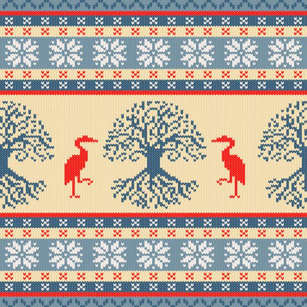 Árbol celta de la vida y de la grúa. Ornamento lana punto - ilustración de arte vectorial