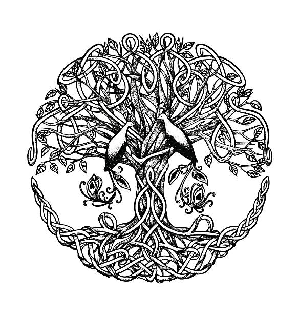 Celtic tree with birds of paradise. Graphic arts, dotwork – Vektorgrafik