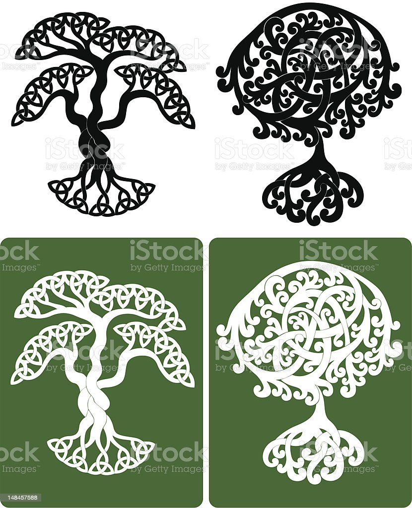 Celtic Trees Stock Vector Art & More Images of Black Color 148457588 ...