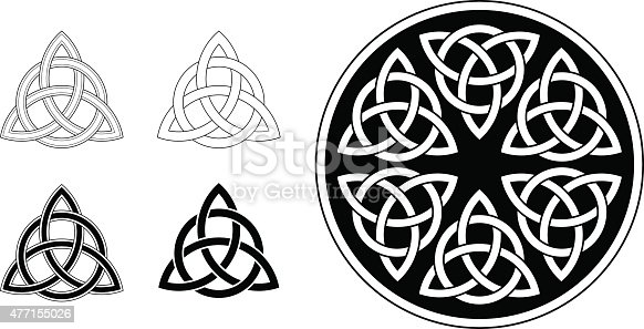 Classic Celtic trinity ornament (triquetra) in black on white background. The symbol is based on a circle, interwoven three petals, forming an endless knot. The design is illustrated in different versions: as line work (simple and complex), as a black and white tattoo and in a circular mandala version.