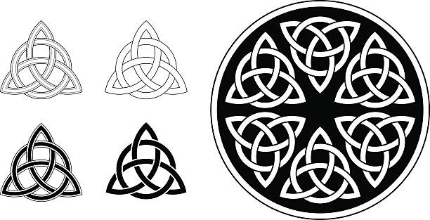 Celtic trinity ornament / triquetra (Infinity knot variation n° 2) Classic Celtic trinity ornament (triquetra) in black on white background. The symbol is based on a circle, interwoven three petals, forming an endless knot. The design is illustrated in different versions: as line work (simple and complex), as a black and white tattoo and in a circular mandala version.  celtic knot stock illustrations