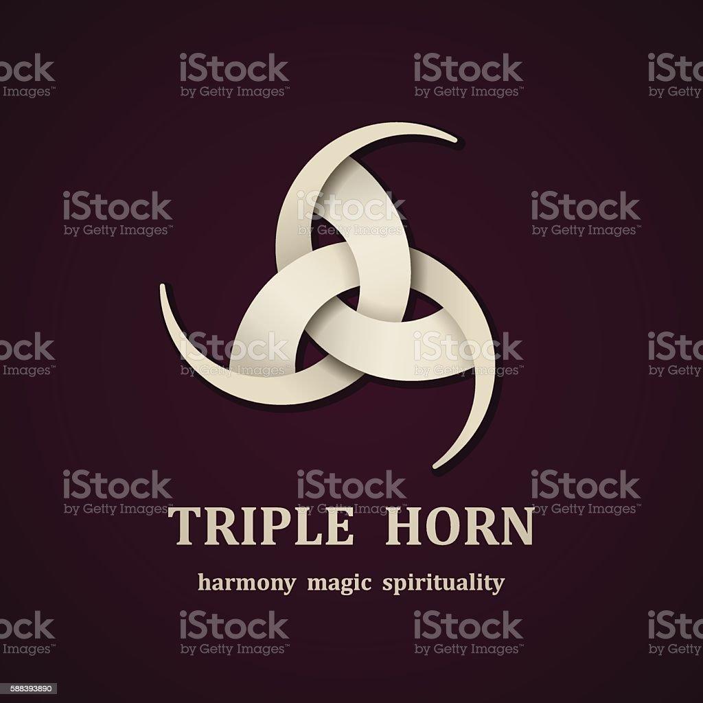 celtic triple horn symbol design template vector art illustration