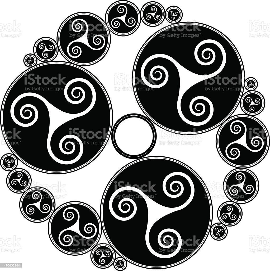 Celtic triple spirals (Triskelion variation n° 3) vector art illustration