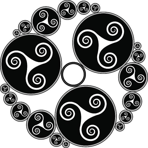 illustrations, cliparts, dessins animés et icônes de celtic triple spirales (triskelion diversité n ° 3) - tatouages celtiques
