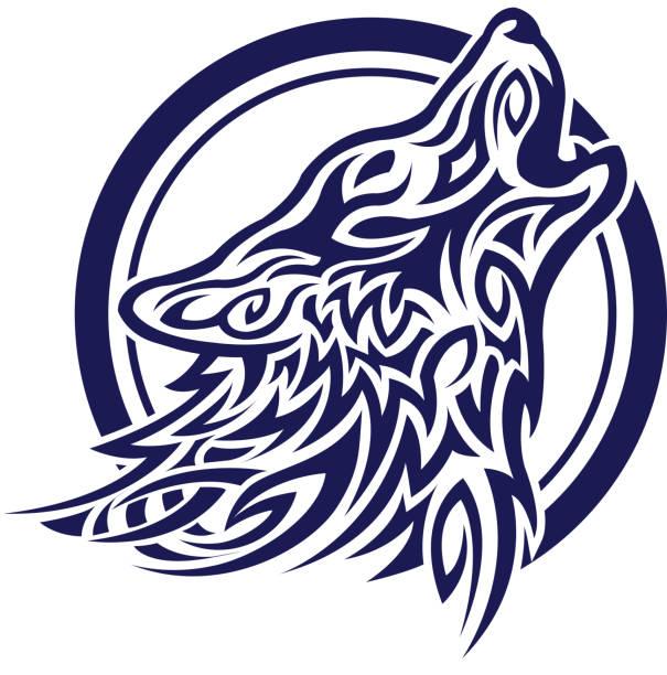 celtic wolf tatoo - moon tattoos stock illustrations, clip art, cartoons, & icons