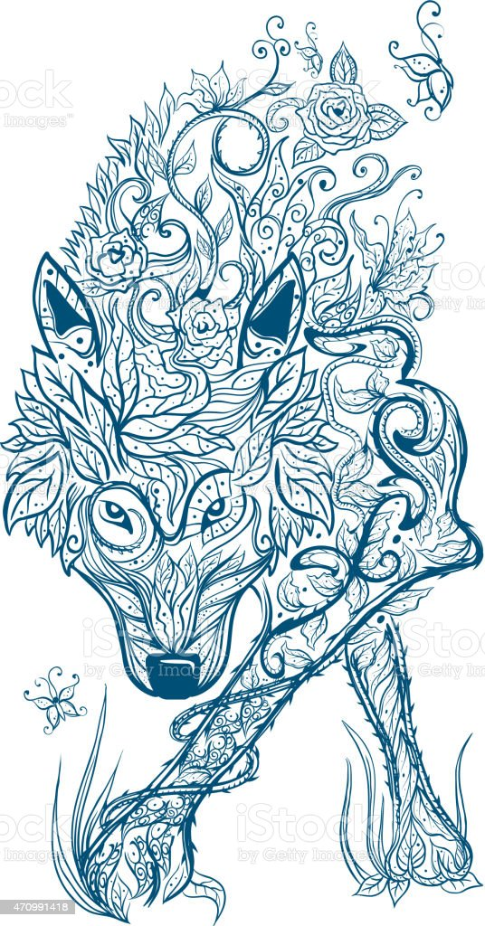 Celtic Wolf tribal tattoo vector art illustration