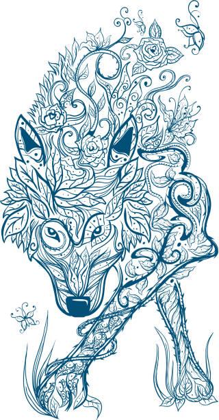 illustrations, cliparts, dessins animés et icônes de loup celtique tatouage tribal - tatouages celtiques