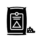 cement bag glyph icon vector illustration