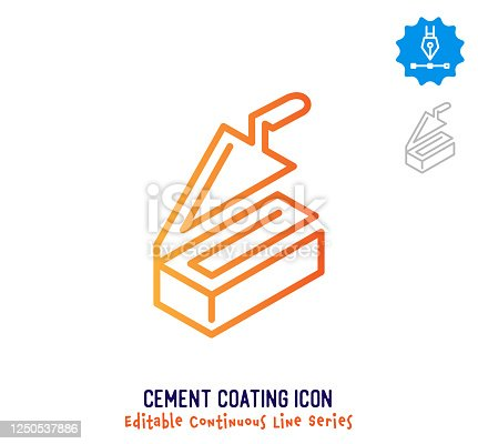 Cement coating vector icon illustration for logo, emblem or symbol use. Part of continuous one line minimalistic drawing series. Design elements with editable gradient stroke.